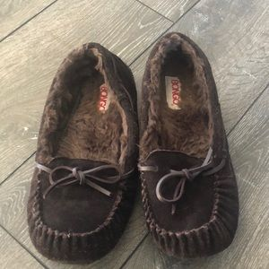 Bongo brown leather slippers